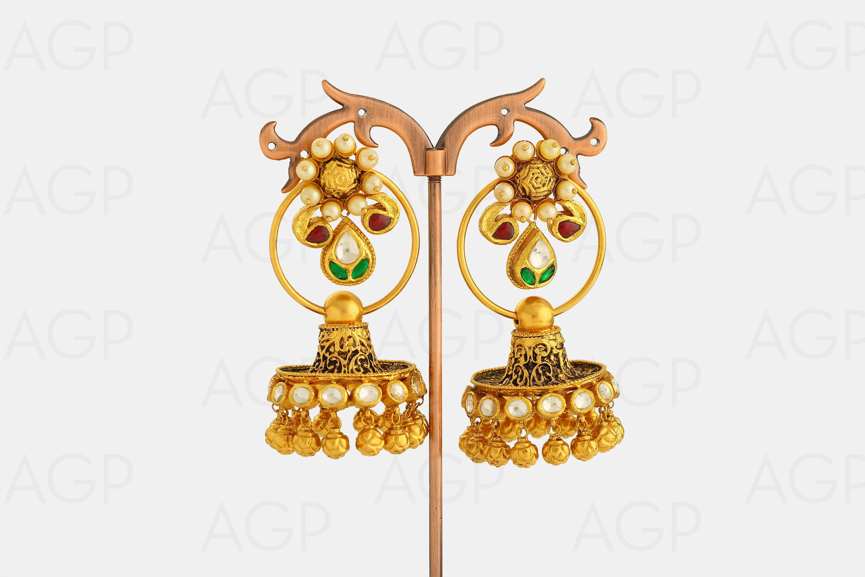 gold by punjabi blue antiquegold jewellery traditional antique stud earrings products