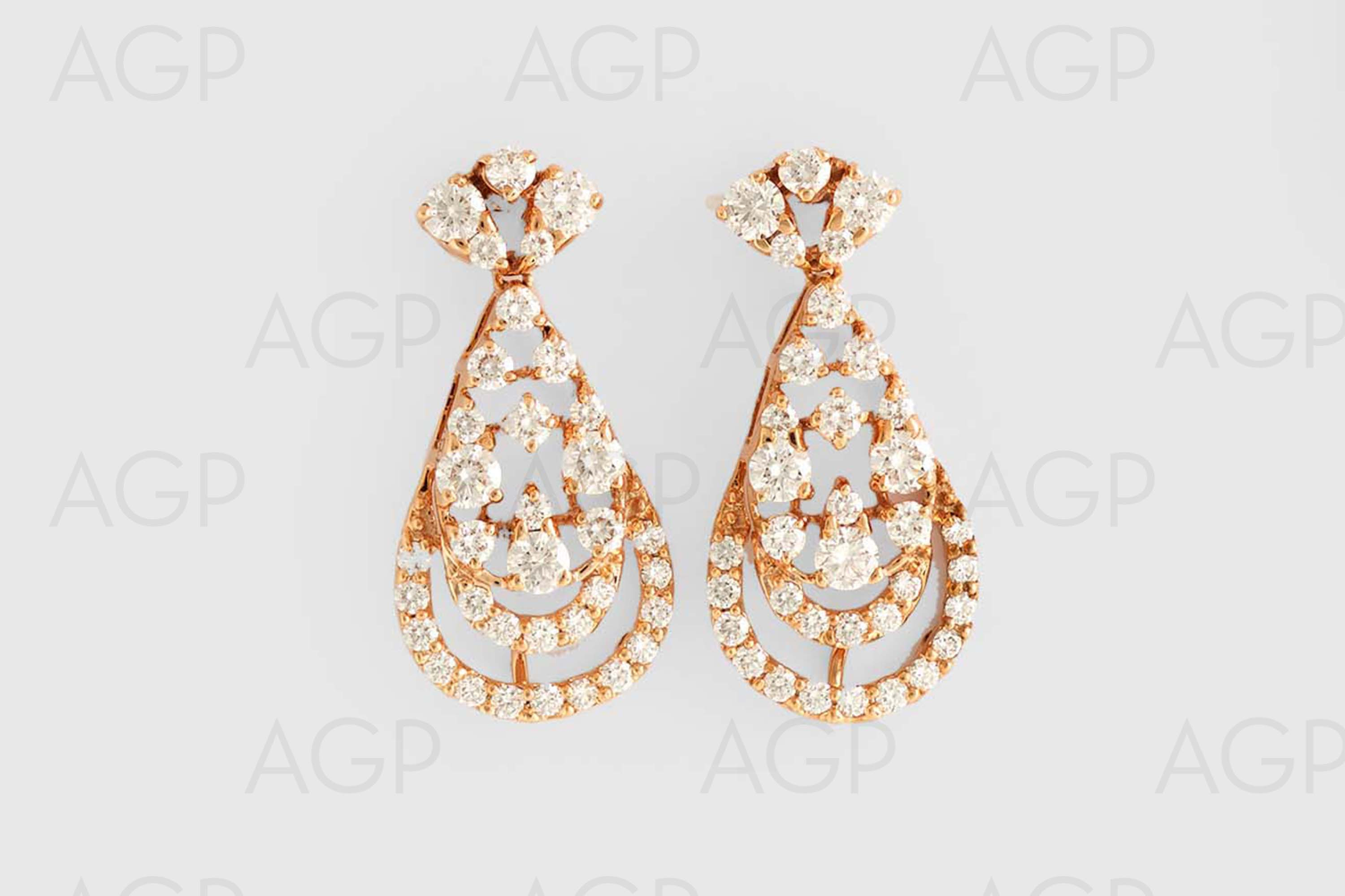 views earrings diamond gold antique triple stud more cluster yellow